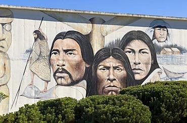Native Heritage mural by Paul Ygartua, Chemainus, Vancouver Island, British Columbia, Canada