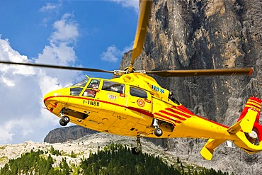 Helicopter operation, mountain rescue in the Dolomites, South Tyrol, Italy, Europe