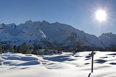 Winter landscape, Fanes-Sennes-Prags Nature Park, Dolomites, South Tyrol, Italy, Europe