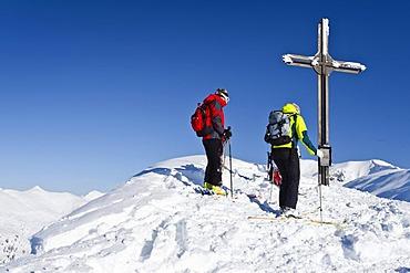 At the summit of Morgenrast Mountain above Unterreinswald, Sarntal Valley, Alto Adige, Italy, Europe
