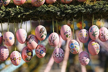 Easter eggs, Easter fountain, Bieberbach, Franconian Switzerland, Upper Franconia, Franconia, Bavaria, Germany, Europe