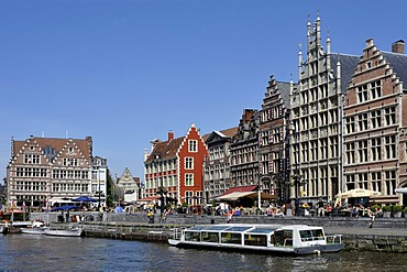The Korenlei with the Lys river in the foreground, Ghent, Flanders, Belgium, Europe