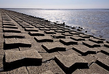Coastal protection, concrete bank protection of the dike, North Coast, North Friesland, Schleswig-Holstein, Germany, Europe