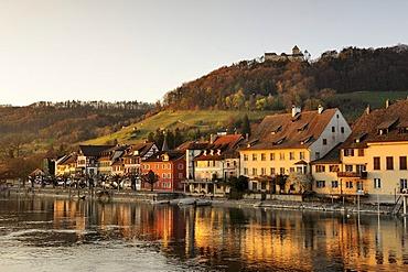 View over the Rhine on the old town promenade, above Burg Hohenklingen castle, Stein am Rhein, Canton Schaffhausen, Switzerland, Europe