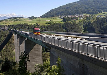 Truck on the Europabruecke bridge on the Brennerautobahn motorway, Austria, Europe