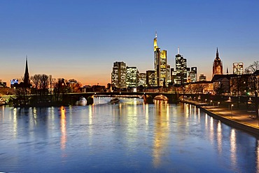Skyline with Commerzbank Tower, European Central Bank, ECB, Hessische Landesbank, Cathedral, Opera Tower and Deutsche Bank buildings behind Alte Bruecke bridge, Frankfurt, Hesse, Germany, Europe
