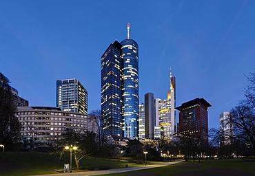 Hessische Landesbank Helaba, Commerzbank Tower, Japan Tower and the ECB, European Central Bank, Frankfurt, Hesse, Germany, Europe