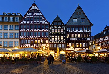 Reconstructed historic half-timbered houses on Roemerberg square, also known as Samstagsberg square, Roemer building, restaurants, Frankfurt am Main, Hesse, Germany, Europe