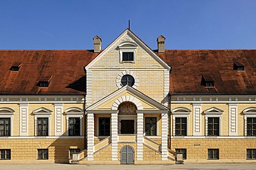 Entrance facade, Old Schleissheim Palace, 1617 - 1623, Max-Emanuel-Platz square 1, Oberschleissheim, Bavaria, Germany, Europe