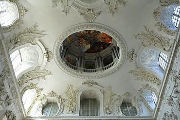 Domed ceiling in the stairwell, New Schleissheim Palace, 1719 - 1726, Max-Emanuel-Platz square 1, Oberschleissheim, Bavaria, Germany, Europe