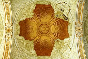 Ornate ceiling of the vestibule, 1723, New Schleissheim Palace, 1719 - 1726, Max-Emanuel-Platz square 1, Oberschleissheim, Bavaria, Germany, Europe