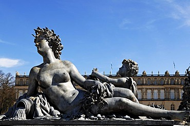 Mythological statue on the Fortuna fountain, by Wilhelm von Ruemann, built between 1884 and 1885, in front of Herrenchiemsee Palace, Herreninsel island, Bavaria, Germany, Europe