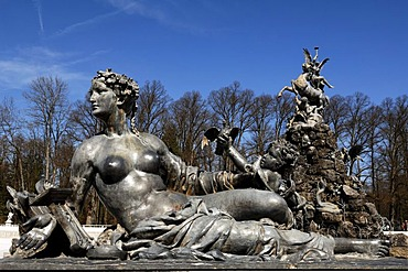 Mythological statue on the Fama fountain, by Rudolf Maison, built between 1884 and 1885, in front of Herrenchiemsee Palace, Herreninsel island, Bavaria, Germany, Europe