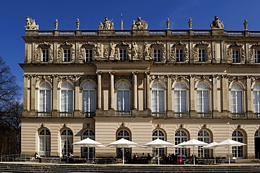 West facade with palace cafe, Schloss Herrenchiemsee palace, Herrenchiemsee, Bavaria, Germany, Europe