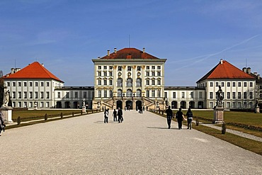 General view of Schloss Nymphenburg Palace with palace gardens, Schlossrondell, Munich, Bavaria, Germany, Europe