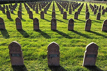 Grave stones of soldiers of Arab origin on a military cemetery, Rue du Ladhof, Colmar, Alsace, France, Europe