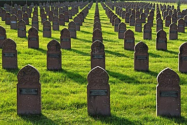 Grave stones of soldiers on a military cemetery, Rue du Ladhof, Colmar, Alsace, France, Europe