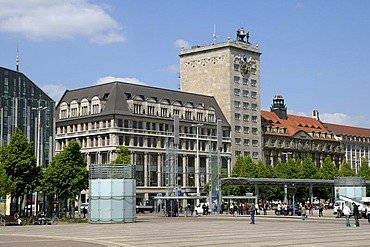 Kroch Tower, a high-rise building on Augustusplatz square, Leipzig, Saxony, Germany, Europe