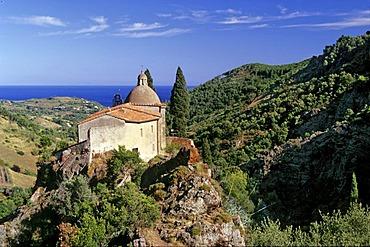 Madonna di Montserrat pilgrimage church, hill, valley, Mediterranean Sea, island of Elba, Tuscany, Italy, Europe