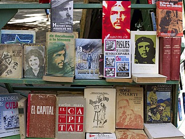 Political books on Che Guevara at a flea market in the old town of Havana, Cuba, Latin America