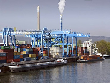 Loading bridges with containers and ships in the container terminal Mainz am Rhein, Mainz, Rhineland-Palatinate, Germany, Europe