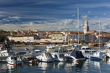 Boats in the harbor and town of Krk, Krk island, Kvarner Gulf, Croatia, Europe