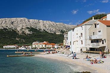 Beach of Baska, Krk island, Kvarner Gulf, Croatia, Europe