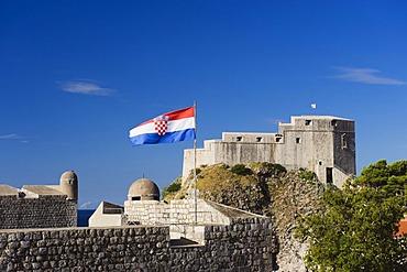 Flag, city walls, Bokar Fortress, Dubrovnik, Dalmatia, Croatia, Europe