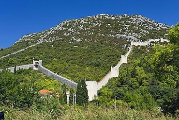 Defence walls on the mountain of Veliki Ston, Peljesac Peninsula, Dalmatia, Croatia, Europe