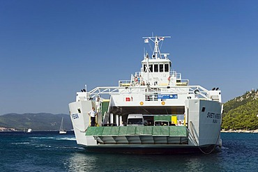 Car ferry in the harbour of Orebic, Peljesac Peninsula, Dalmatia, Croatia, Europe