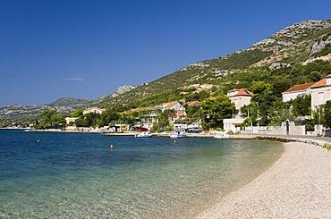 Beach in Orebic, Peljesac Peninsula, Dalmatia, Croatia, Europe