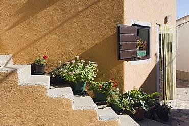 Outdoor stone staircase on a house, Primosten, Dalmatia, Croatia, Europe