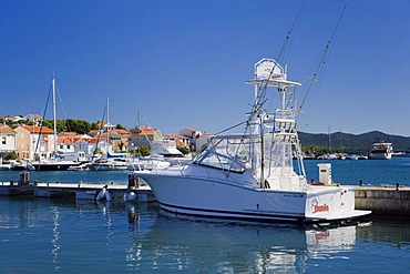 Boat for deep sea fishing in the fishing village of Jezera, Murter island, Kornati, Dalmatia, Croatia, Europe