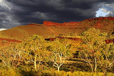 Stormy sky over outback landscape, Pilbara, Western Australia