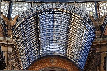 Entrance from Piazza della Scala, Galleria Vittorio Emanuele gallery, Milan, Lombardy, Italy, Europe