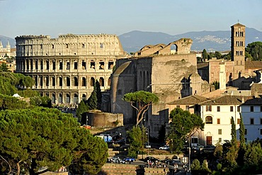 Colosseum, Basilica of Maxentius or Constantine, Church of Santa Francesca Romana, Roman Forum, Via dei Fori Imperiali, Rome, Lazio, Italy, Europe