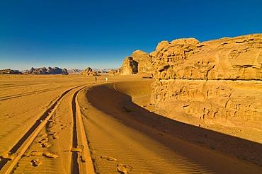 Mountains and desert, Wadi Rum, Jordan, Middle East