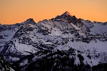 Mountaintops in the evening light, Oberjoch mountain, Oberallgaeu, Bavaria, Germany, Europe