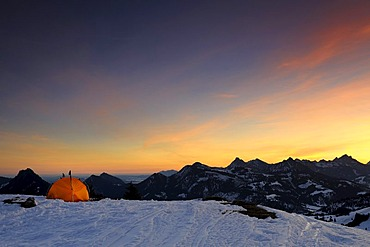 A tent and the evening sky, mountain scenery, Oberjoch mountain, Oberallgaeu, Bavaria, Germany, Europe