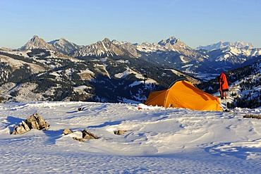 Mountain scenery and a tent in winter, Oberjoch mountain, Oberallgaeu, Bavaria, Germany, Europe
