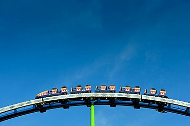 Passengers of a roller coaster at the Oktoberfest fair, Theresienwiese, Munich, Bavaria, Germany, Europe