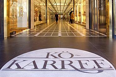 Koe-Karree shopping arcade on the Koe or Koenigsallee shopping promenade, Duesseldorf, North Rhine-Westphalia, Germany, Europe