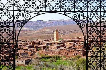 Panoramic view of Telouet from Telouet Kasbah, Ounila Valley, High Atlas Mountains, Morocco, Africa