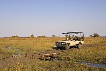 Safari jeep, Busanga Plains, Kafue National Park, Zambia, Africa