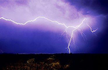 Lightning strike over desert, Big Bend National Park, West Texas, USA