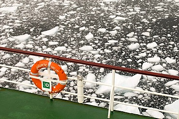 Lifebuoy, Antarctic Dream ship, Lemaire Channel, Antarctic Peninsula, Antarctica