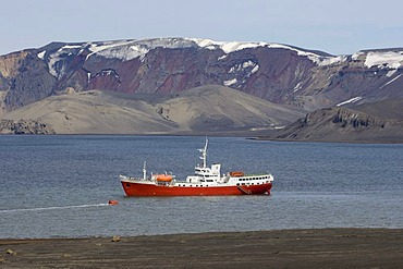 Antarctic Dream ship, Deception Island, South Shetland Islands, Antarctica