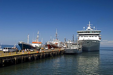Ships in the harbour of Punta Arenas, Patagonia, Chile, South America