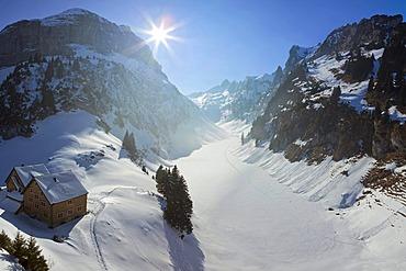 Snow landscape, Faelensee Lake and Bollenwees, Alpstein, Alps, Appenzell, Switzerland, Europe