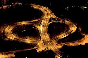 Weidachknoten junction near the Pfaendertunnel tunnel at night with lights, Bregenz, Austria, Europe